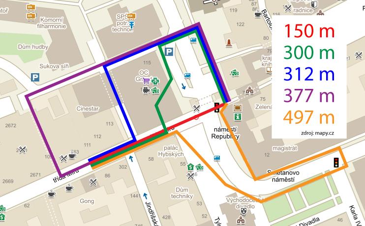 Varianty tras od Zelené brány na Třídu Míru. Délky: 150 m, 300 m, 312 m, 377 m, 497 m